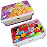 Pawan Plastic Combo Set Of 2 Lock & Fit Disney Character Barbie & Micky N Friends Lunch Box With Spoon & Fork For Kids ( Designs May Be Little Vary)