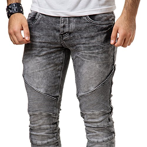 Justing Herren Jeans Hose Denim Slim Fit Grau Verwaschen Stonewashed ST-5023#V Blau