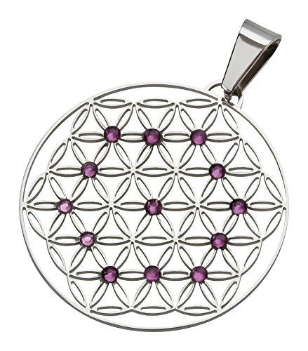 Blume des Lebens Edelstahl mit violetten Swarovski Elements