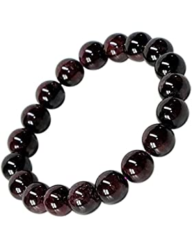Kaltner Präsente Geschenkidee - Power Armband mit Perlen aus dem Edelstein Granat (Stretch Band)