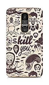 Amez designer printed 3d premium high quality back case cover for LG G2 (Villains Collection They Will Kill You)