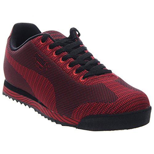 Preisvergleich Produktbild PUMA Mens Classic Sneakers Roma Woven Print Black High Risk Red 361677-03