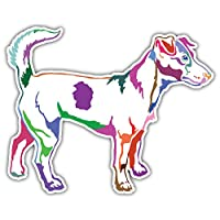 SkyBug Jack Russell Terrier Dog Colorful Bumper Sticker Vinyl Art Decal for Car Truck Van Window Bike Laptop