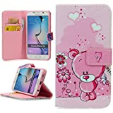 Handy Lux® Schutz Hülle Tasche Kartenfächer Flip Case Etui Cover Involto Motiv Design Hülle BookStyle (Samsung Galaxy S3 mini i8190, Bear Rosa)