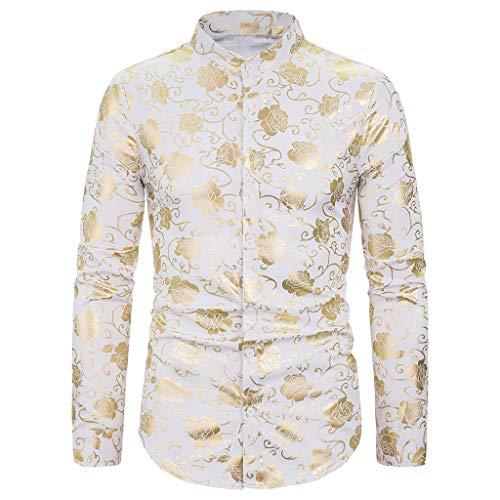 MOTOCO Herren Lange Ärmel Hemden Top Heißgeprägter Reversknopf Einreiher Poloshirt Freizeitbluse(2XL,Weiß-4)