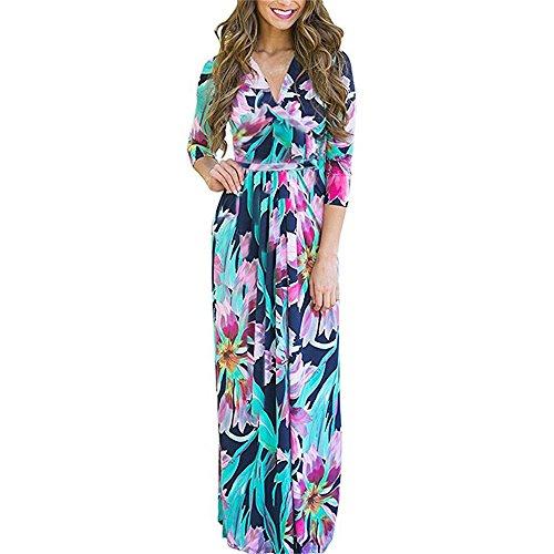 Pocket Kleid (Bellelove Damen Langarm Maxi Kleid V Ausschnitt Hohe Taille Falten A Linien Pockets Elegant Lady Lässig langkleid Faltenkleid)