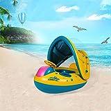 Befitery Aufblasbares Schwimmsitz mit Dach und drehbarem Lenkrad Baby Schwimmreifen Schwimmring Schwimmhilfen mit Sonnenschutz für Kinder Säugling Baby