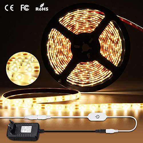 Elfeland LED Streifen Warmweiß 5M Stripes Bänder LED Strip SMD2835 300 LEDs 4500K Stimmungslicht Lichterkette Lichtband für Innen Außen Hintergrundbeleuchtung Dimmbar IP65 Wasserfest Selbstklebend