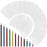 Anpro 24 pcs Pochoirs Blancs Nombreux Jolis Motifs Divers ,Chiffre, Lettre, Dessins,Alphabet ,Formes Géométriques ,12pcs Crayons de Couleurs Differentes Pour Bullet Journal, DIY, Cartes de Vœux,œuvres d'art, Scrapbooking ect