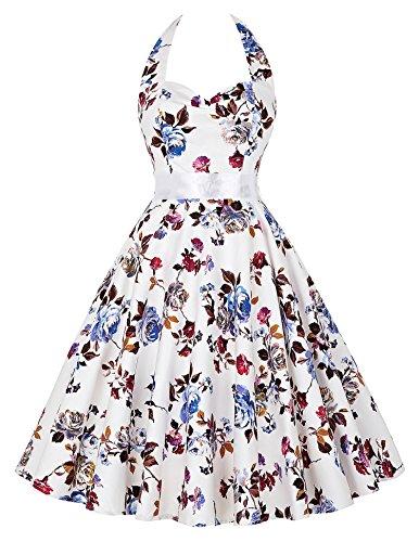 damen elegant kleider 50er jahre kleid sommerkleid a linie kleid neckholder kleid XL (50er Hausfrau Jahre)
