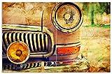 Wallario Herdabdeckplatte/Spritzschutz aus Glas, 2-teilig, 80x52cm, für Ceran- und Induktionsherde, Motiv Antiker Oldtimer in Sepiafarben - Frontansicht