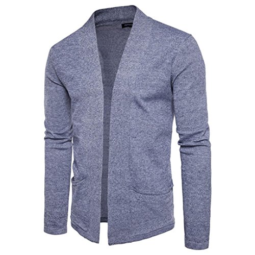 Longra Herren Strickjacke Cardigan Hip Hop Basic Lang geschnittene Knitting Mantel Männer Herbst Winter Slim Fit Pullover Sweatshirt Strickwaren Mantel Jacke (M, Gray)