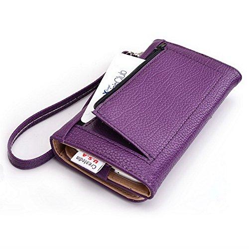 Kroo Pochette Téléphone universel Femme Portefeuille en cuir PU avec sangle poignet pour Vivo Y28/XShot Multicolore - Emerald Leopard Violet - violet