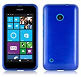 Cadorabo DE-104788 Nokia Lumia 530 Handyhülle aus TPU Silikon in gebürsteter Edelstahloptik (Brushed) Blau