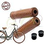 511cUJL6FzL. SS150 Progrip AXMABIPM Coppia MANOPOLE RIVESTITE in Morbida Ecopelle Marroni per Manubrio City Bike Bici Bicicletta Vintage…
