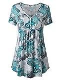 Damen Tunika Bluse Kurzarm Tops Tunika Elegant Abend Dating Sommer Tees Busenshirt Oberteile Top-Shirt XL Grün