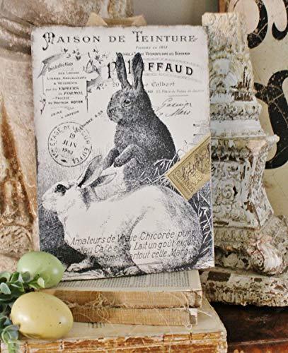 CPWood Vintage Kaninchen Grain Sack Ostern Holzschild Französisch Bauernhaus Dekor Buchseite Wandbild Kunstdruck Landhaus Dekor -