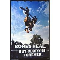 Póster, diseño de tabla de skate Bones curar pero Glory es Forever 24x 36