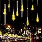 Meteoros Lluvia Luces,SUAVER Impermeable Cadena de Luces 360LEDs 10 Tubo de Luces Solar Luces Jardín Guirnalda de Luzs,Cadena para Fiesta de Boda de Decoración del árbol de Navidad (Blanco cálido)