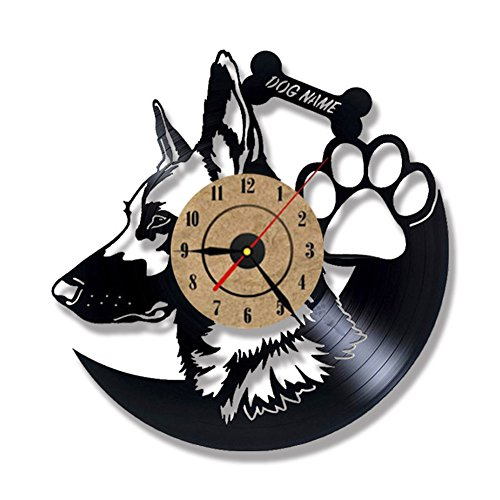 OOFAY Clock@ Wanduhr Vinyl Schallplattenuhr Familien Dekoration 3D Deutscher Schäferhund Design-Uhr Wand-Deko Vintage Durchmesser 30 Cm,B