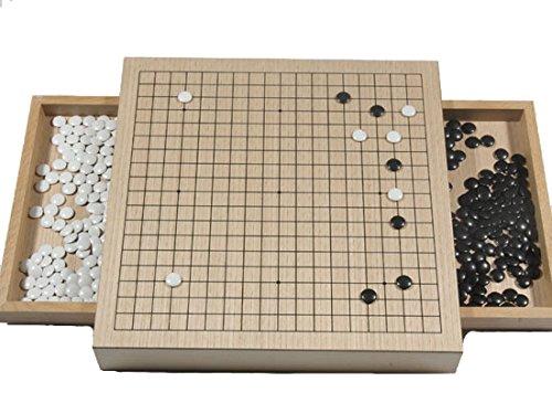 Go-Spiel: Go-Brettset mit Schubladen, Buchenfurnier