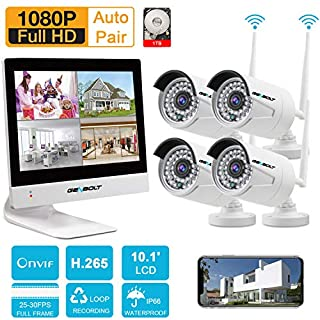 Security Camera System Wireless Outdoor,GENBOLT H.265 1080P WiFi Home Security Camera System, Waterproof IP Surveillance Camera Kit with 10.1' LCD, 65ft Night Vision,Auto-Pair,Plug&Play (1TB HDD)