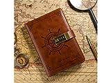 BGTYHU Mode PU-Leder Vintage Sailor Passwort Notebook schreiben Journal Tagebuch Draht gebunden ausgekleidet täglich Notepad persönliche Sketch (braun)