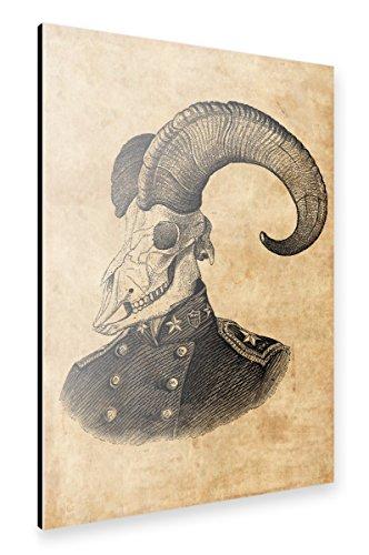 artboxONE Alu-Print 120x80 cm Steampunk Ziegenschädel von Künstler Artkuu