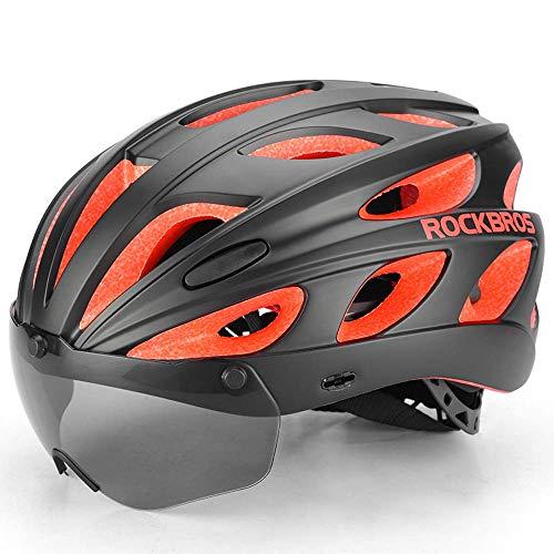 RYMWJY Fahrradhelm Mountain Road Fahrradhelm mit Brille polarisierten einteiligen Unisex leichten Helm schwarz rot