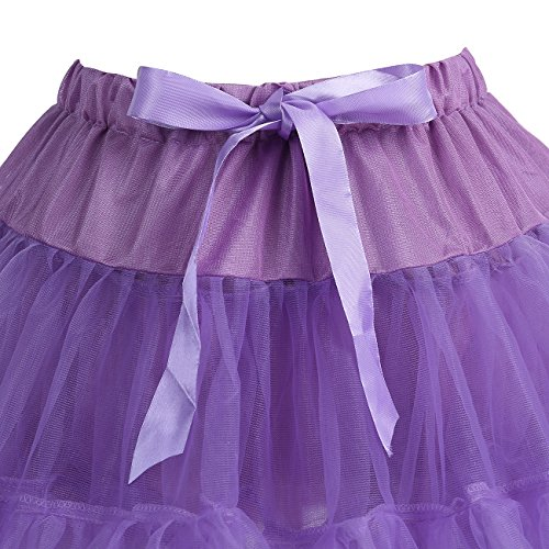 IVNIS Mini Unterrock Petticoat Kurz Ballett Tutu Tüllrock 2 Layered Tanz Pettiskirt Violett