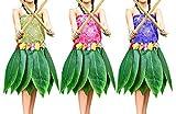 Kurtzy Lot de 3 Jupes à Feuilles Hula - Jupe Hawaïenne Feuille Verte avec Fleurs d'Hibiscus Artificielles pour Plage, Barbecues, Soirées Déguisées - Costume Jupe Feuille de Bananier Style Hawaï