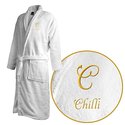 Bademantel mit Namen Chilli bestickt - Initialien und Name als Monogramm-Stick - Größe wählen White