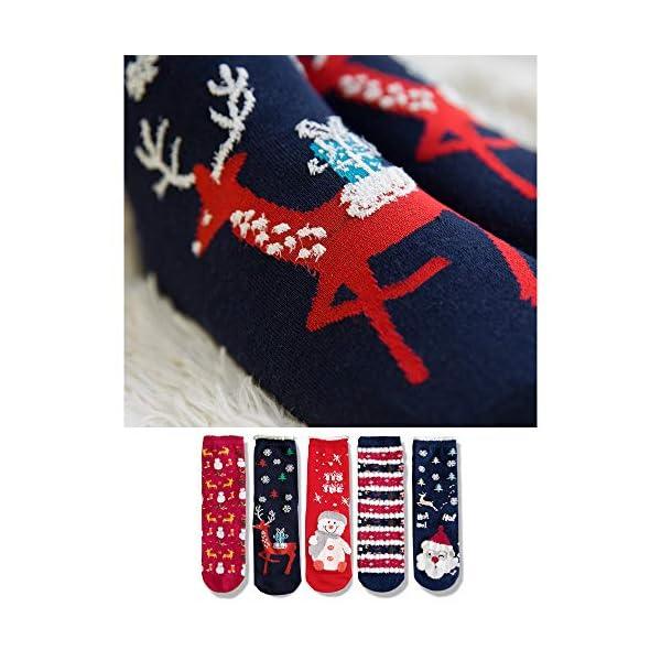 LIKERAINY Christmas Ragazze Donna Calzini Cotone di Natale Caldo Inverno Confortevole Babbo Natale e Alce 5 Paia 3 spesavip