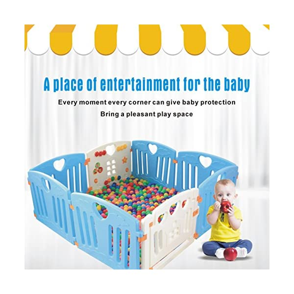 Baby Playpen Kids Activity Centre Safety Play Yard Home Indoor Outdoor New Pen (Multicolour, Classic Set 14 Panel) (Blue 8 Panel) Gupamiga MOM'S LIFESAVER: Keep baby safe in there play centre when mom/dad needs to cook, clean up, go to the bathroom, etc. STURDY HOLDING: Specially designed rubber feet underneath of the yard so the parts don't go sliding around. COVERS A LARGE AREA: It is a great amount of space for baby to learn walk and even laying with baby in it for play time. 1