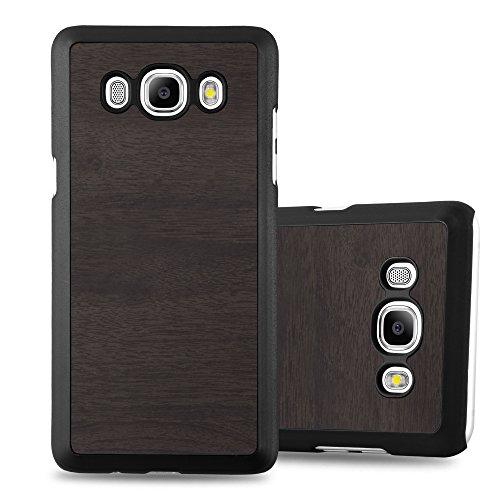 Preisvergleich Produktbild Cadorabo Hülle für Samsung Galaxy J7 2016 (6) - Hülle in Woody SCHWARZ – Hardcase Handyhülle in Vintage Holz Optik - Schutzhülle Bumper Back Case Cover