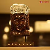 Archies® Wooden Gautam Buddha Face On Base With Mirror Work (14.7 Cm X 14.7 Cm X 26.6 Cm, Weight - 704 gm, Brown)