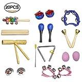 20 pezzi Strumenti musicali per bambini, giocattoli a percussione per bambini, set di fasce ritmiche in legno, incluso maracas / uova shaker / campanelli / campanelli / triangolo / nacchere / piatti / borsa da trasporto