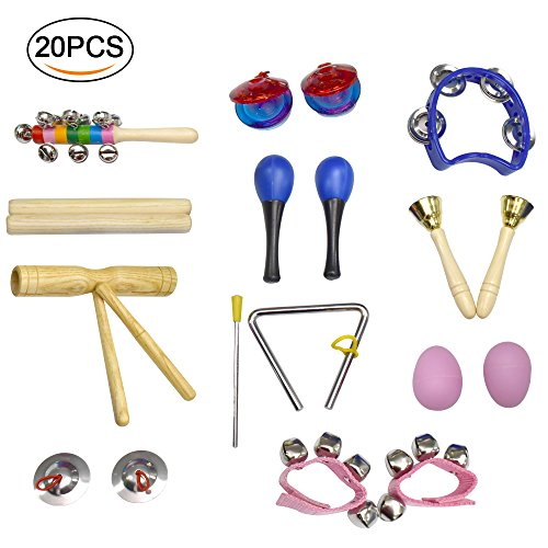 Musikinstrumente Kinder Set,Crayfomo Toddlers Percussion Spielzeug, Holz Rhythm Band Set, inklusive Maracas / Shaker Eier / Handgelenk Glocken / Hand Glocken / Dreieck / Finger Kastagnetten / Becken (20 Stück) (Pink Kid Drum Set)