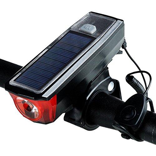 Sensore di luce solare intelligente ricaricabile USB con fari per bicicletta da montagna impermeabile con fanalini di coda gratuiti Accessori (black)