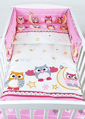 BABYLUX Bettwäsche Bezug 2 Tlg. 100 x 135 cm Kinderbettwäsche Bettwäsche Bettset Babybettwäsche (56. Eule Rosa)