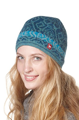 Alpaka-Mütze CHIMU mit Baumwoll-Vlies gefüttert Damen Herren Jaquard-Strick von APU...
