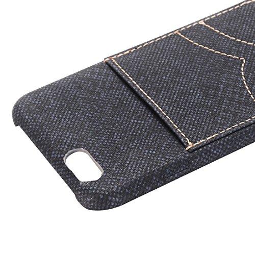 Pour iPhone 6 / 6s, étui de protection arrière en maille de poche Jeans avec emplacement pour carte YAN ( Color : Brown ) Dark Blue