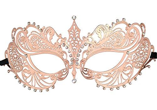 Crown Laser Cut Metall Damen Maskerade Maske Mardi Gras Maske (Roségold) (Mardi Gras Dame Kostüme)