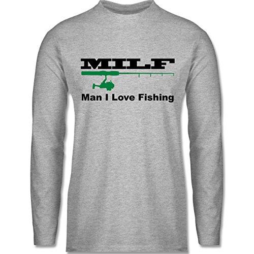 Shirtracer Angeln - Milf Man I Love Fishing - XXL - Grau meliert - BCTU005 - Herren Langarmshirt