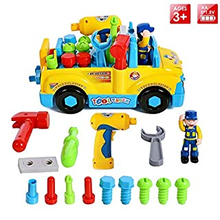 Montage Spielzeug Set Spielzeugauto Multifunktions Baufahrzeuge Auto Werkzeug LKW mit Elektrobohrer und Verschiedene Werkzeuge Für Kinder