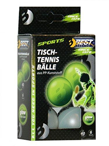 Preisvergleich Produktbild Best Sporting Fun-Bälle Spaßbälle Tischtennisbälle 6 St,  nachtleuchtend Glow in The Dark,  40 mm