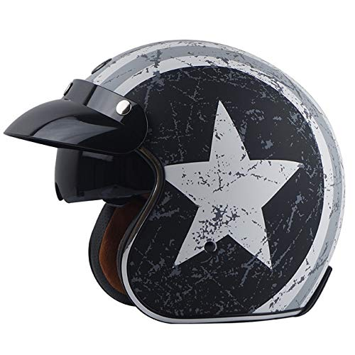 Berrd Open Face Retro Motorcycle Casco de Moto White Rebel Star L