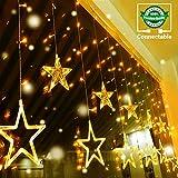 12 Étoiles Rideau Lumière 138 LED CONNECTABLE 14 MAX Quntis Guirlande Lumineuse Décoration Chambre Murale Intérieure Noël Mariage Fête pour Fenêtre Jardin Anniversaire 2M Blanc Chaud 8 Mode Éclairage...