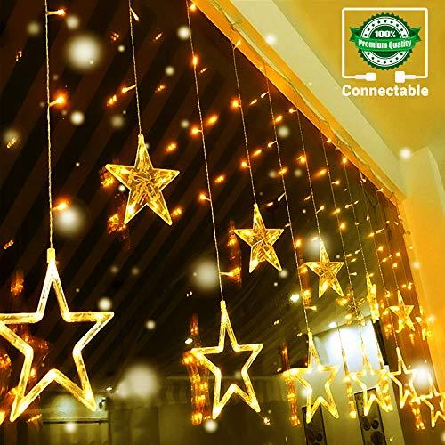 Quntis 138LEDs 2m 12 Sterne Lichterkette Sternenvorhang Warmweiß, 8 Modi IP44 LED Lichtervorhang mit Stecker Innen Außen, Erweiterbar Dekolichter für Weihnachten, Hochzeit, Fest, Party, Fenster, Wand