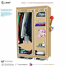 SWASH brand 510 tall multipurpose premium quality portable and foldable or collapsible wardrobe / cupboard / almirah / cabinet / closet for storage - 100% crafted in India using finest grade stainless steel and workmanship : 110 cm (L) X 45 cm (B) X 175 cm (H) when installed (For clothes,shoes,books,toys storage also)